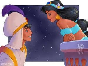 Walt Disney Fan Art - Prince Aladdin & Princess Jasmine