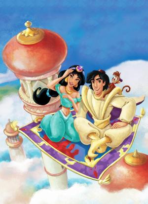 Walt disney gambar - Princess Jasmine, Prince Aladdin, Abu & Carpet