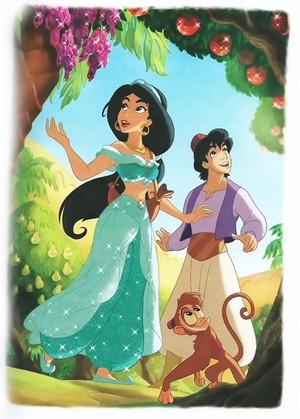 Walt disney gambar - Princess Jasmine, Prince aladdin & Abu