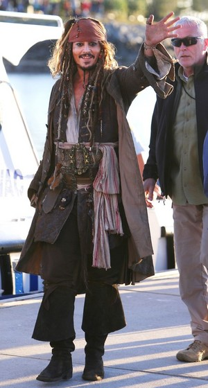 *Johnny Depp on Pirates of the Caribbean Set*
