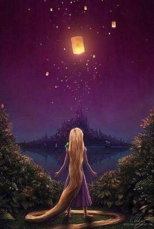 Walt Disney peminat Art - Princess Rapunzel & Pascal