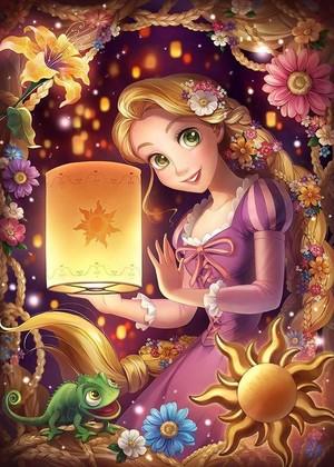 Walt Disney Fan Art - Prince Aladdin, Princess Rapunzel & Pascal