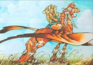 Atalante rides an Pegasus