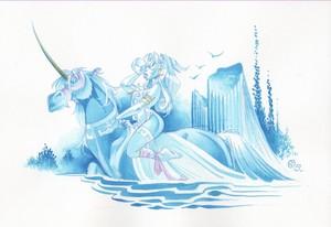 Atalante rides an Unicorn
