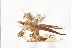 Atalante riding an Pegasus