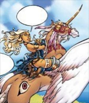 Atalante riding on an Pegasus