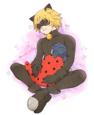 Chat Noir and Baby Marinette