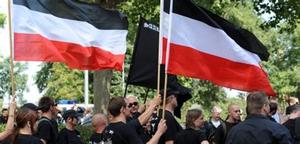 Die NPD Mitglieder marschieren unter dem Flagge der Weimarers Republik