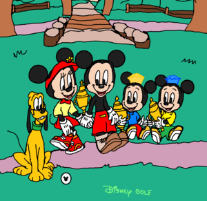 Having Fun with Playing Golf Together (Mickey, Minnie, Pluto, Morty and Ferdie.)