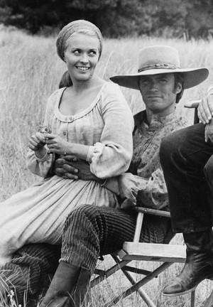 Jean Seberg and Clint Eastwood on the set of Paint Your Wagon (1969)