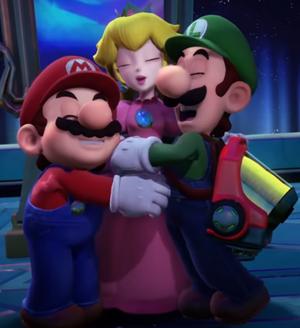 Mario, Peach, and Luigi