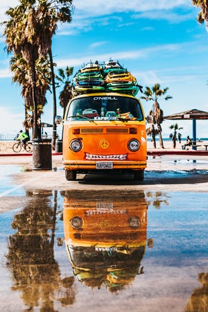 Microbus with Surfboards [Summer]