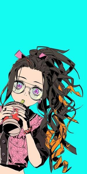 Nezuko-Kimetsu no Yaiba Cool achtergrond Full HD 1080x2160