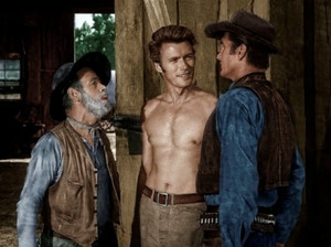 On the set of Rawhide - Eric Fleming, Paul Brinegar, and Clint Eastwood