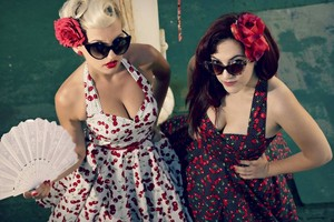Pin Up Dress White Red チェリー Dress Rockabilly Dress 50s