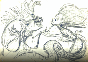 Walt Disney Sketches - Ursula & Princess Ariel