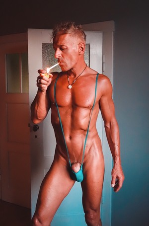shamless low rise tmunderwear guy smoking