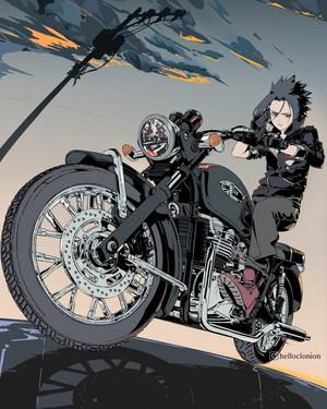 sasuke with motorcycle