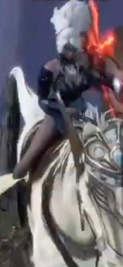 Athena rides on her Majestic Pegasus kabayo