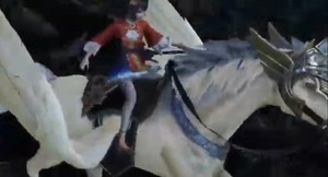 Daqiao rides on a Pegasus