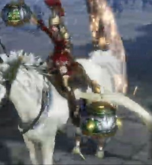 Guan Yinping riding an Beautiful White Pegasus