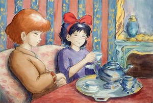 Kiki and Nausicaä having tea