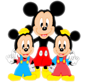 Mickey Mouse, Morty and Ferdie Fieldmouse.