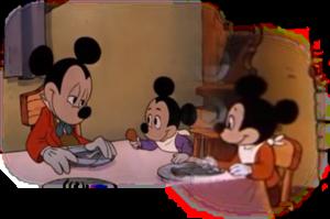 Mickey's navidad Carol (Bob Crachit, Tiny Tim, Pete Crachit)