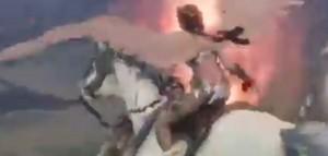 Naotora Ii rides on an Pegasus
