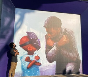 Nikkolas Smith unveiling Chadwick memorial mural in downtown 디즈니