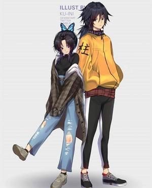 Shinobu and Giyu Tomioka *chic outfit*