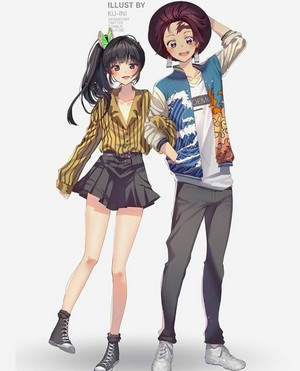 Tanjiro and Kanao *chic outfit*
