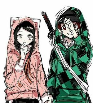 Tanjiro and nezuko *in hoodie*