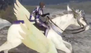Wang Yi riding an White Pegasus