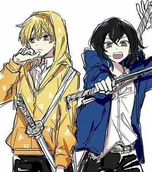 Zenitsu and Inosuke *in hoodie*