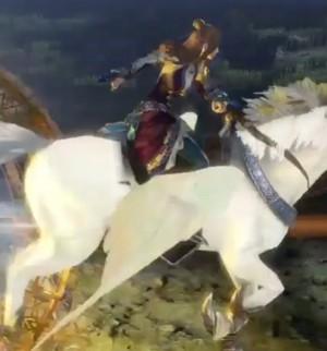 Zhang Chunhua riding an Pegasus