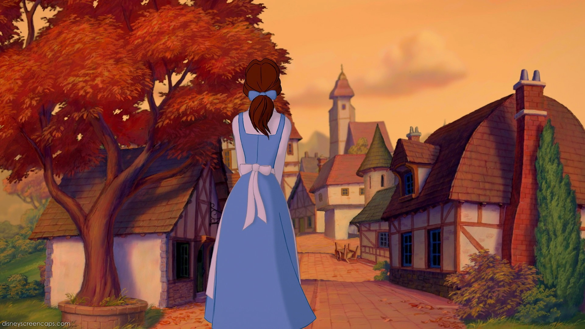 how to draw belle in her blue dress