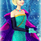Rosella in turquoise dress with purple cape