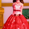 Red gown with reddish pink top andRed and pink roses and brunette hair