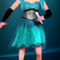 Sea Blue gown with two ponytails