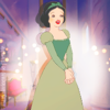 Snow White in Belle's green dress