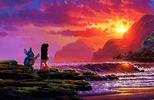 ★ Lilo & Stitch ''A Song At Sunset'' Giclée on Canvas por Rodel Gonzalez ★