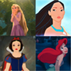 चोटी, शीर्ष - Rapunzel, Pocahontas, Snow White, Ariel