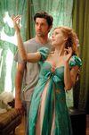 Giselle's چیتی, نیلگوں ہرا curtain dress