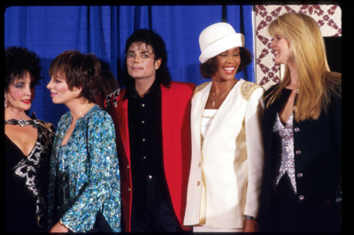 Who is this actress/model in the photograph with Michael, Liza Minnelli, Whitney Houston and Elizabeth Taylor