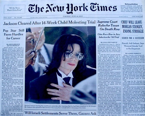 On June 15, 2005, Michael was acqquitted on all counts of sexual misconduct towards a minor