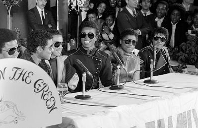 This photograph was taken during the 1983 press conference in support of the upcoming Victory tour