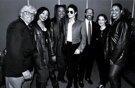 Who is this R&B vocal trio in the photograph with Michael and Lisa Marie