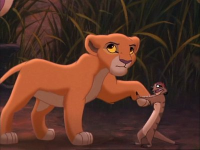 How many times does Kiara encounter Timon and Pumbaa unexpectedly?
