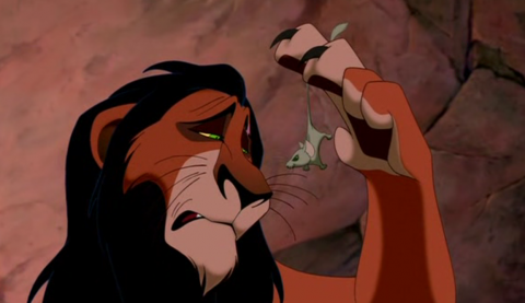 """What does Scar say to the mouse? ..... """"Life's not fair, is it? .. You see, I .. well, I shall never be king"""" ....."""